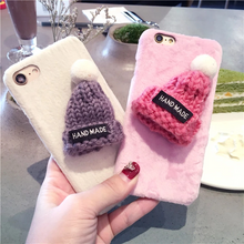 Load image into Gallery viewer, Luxury 3D Christmas Cute Hat Warm Fur Ball Plush Hard Cases For iPhone Series