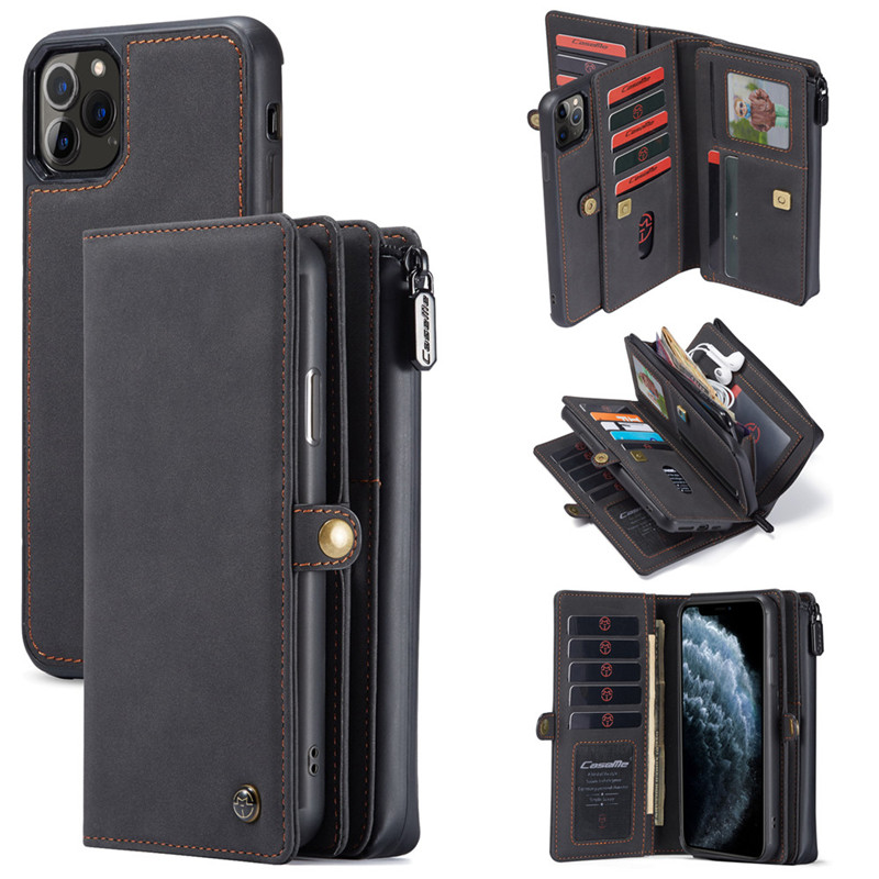 Luxury Zipper Wallet Leather Cases For iPhone Series