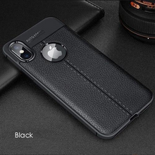 Load image into Gallery viewer, Luxury Ultra Thin Shockproof Litchi Silicon Armor Case For iPhone