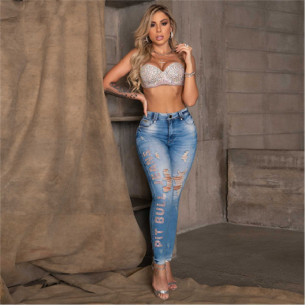 Rhinestone worn out jeans shape your body curve