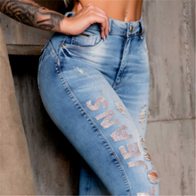 Load image into Gallery viewer, Rhinestone worn out jeans shape your body curve