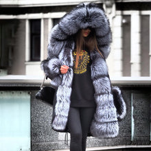 Load image into Gallery viewer, BLACK FAKE SILVER FOX FUR PARKA COAT