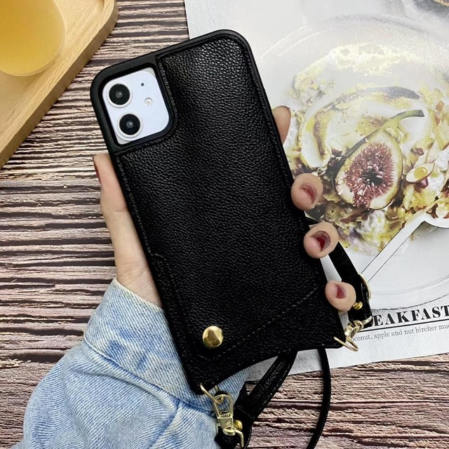 Crossbody Long Chain phonecase  Card Wallet Case For iPhone Series
