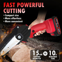 Load image into Gallery viewer, Mini Electric Chainsaw 21V Handheld Rechargeable Cordless Pruning Shears Chain Saw for Courtyard Tree Branch Cutting Tools