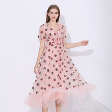 Load image into Gallery viewer, Sequins Strawberry Dress Women Sweet Mesh Vestido Autumn Sexy V Neck Puff Sleeve Pleated Big Swing Dress Women Party Dresses