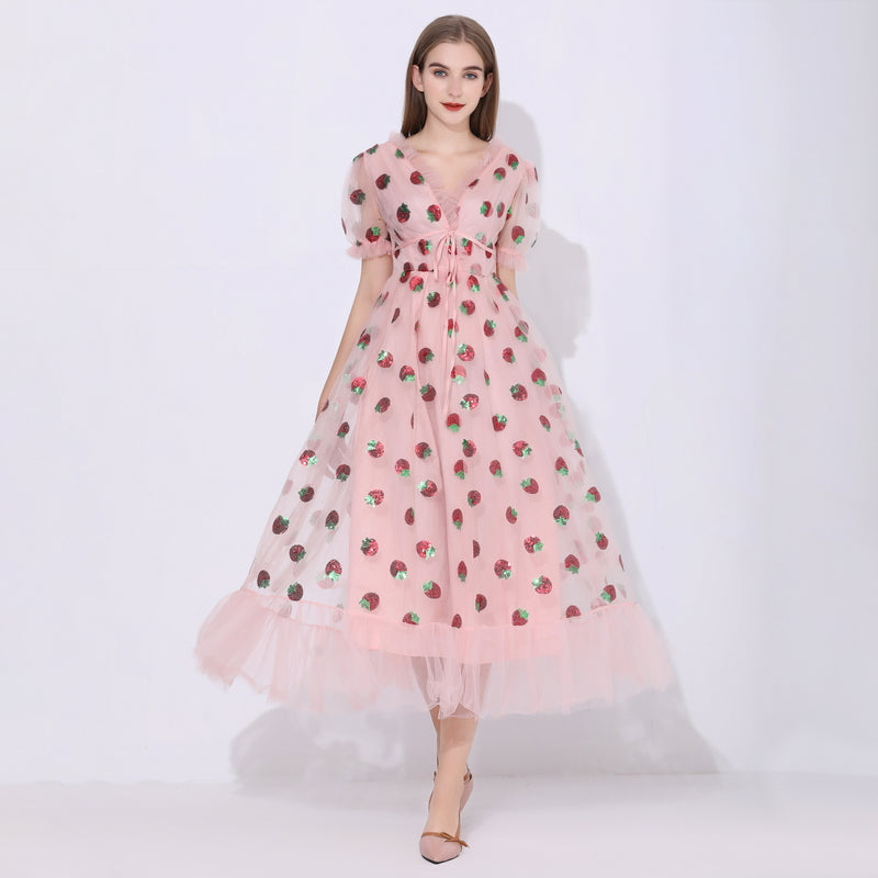 Sequins Strawberry Dress Women Sweet Mesh Vestido Autumn Sexy V Neck Puff Sleeve Pleated Big Swing Dress Women Party Dresses