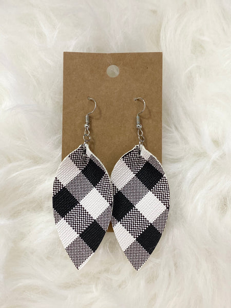 Pinched White Buffalo Plaid Earrings