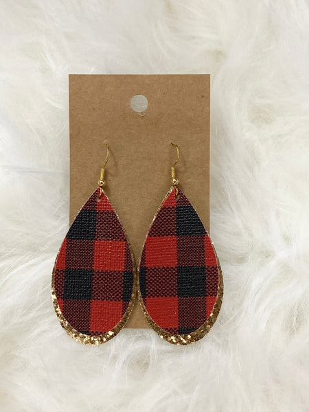 Red Buffalo Plaid on Gold Earrings