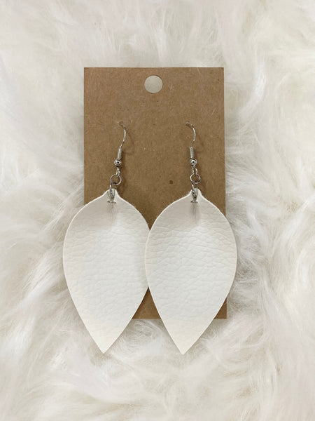 Pinched White Earrings
