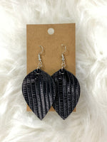 Pinched Textured Black Earrings