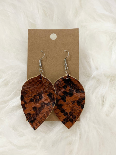 Pinched Brown and Black Snake Pattern Earrings