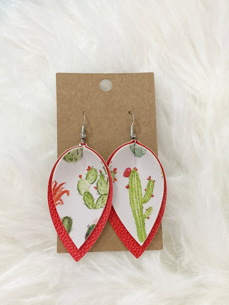 Pinched Cactus on Red Back Earrings