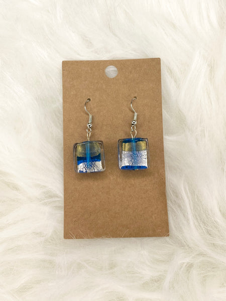 Gold Blue Silver Glass Bead Earring