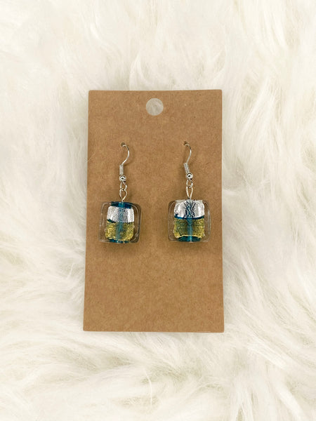 Gold Teal Silver Glass Earring