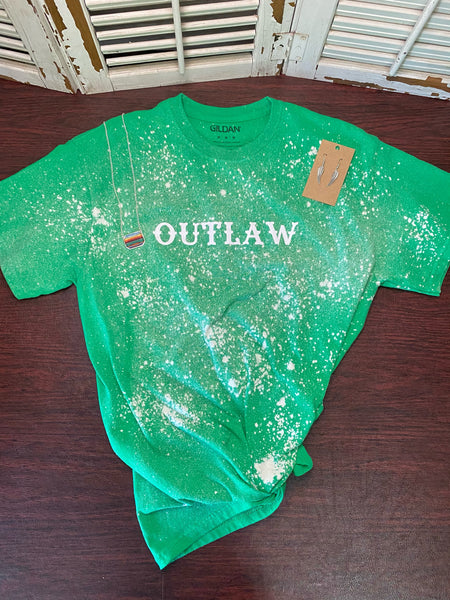 """OUTLAW""  Distressed T-shirt"
