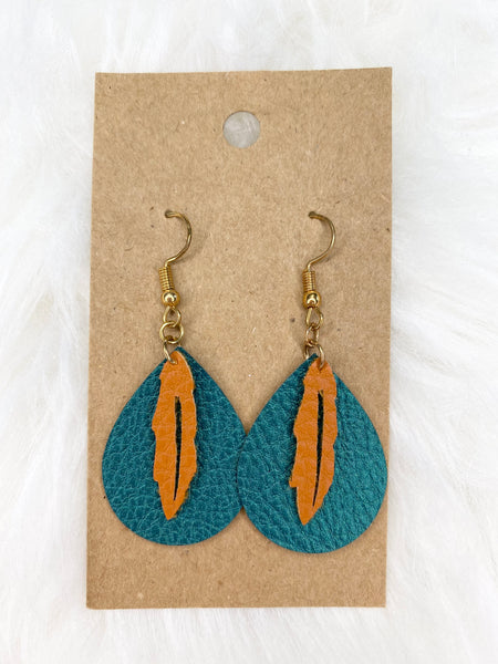 Feather on Green Back Earrings