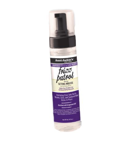 Aunt Jackie's Grapeseed Collection FRIZZ PATROL Anti-Poof Twist and Curl Setting Mouuse Curl Definers Aunt Jackie's