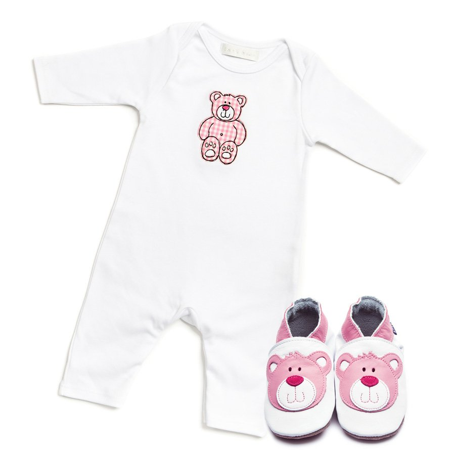 Teddy Pink Babygrow & Shoes Giftset - Wild Atlantic Living