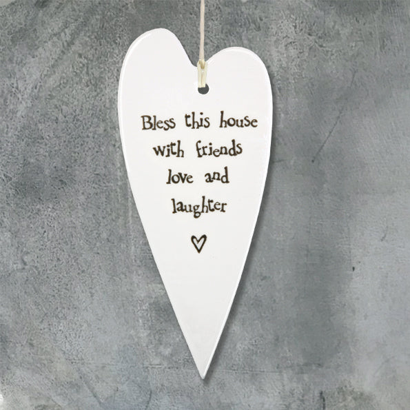 Bless this house Porcelain Long Heart - Wild Atlantic Living