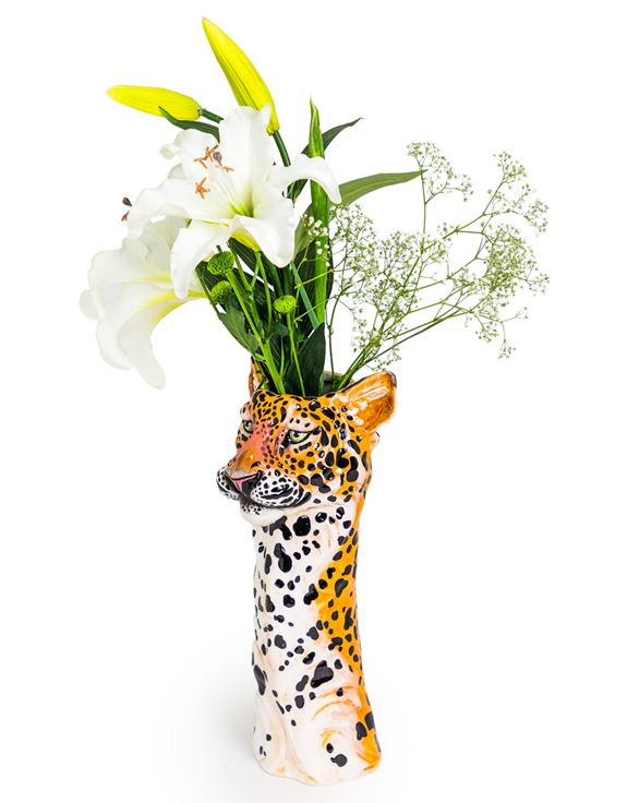 CERAMIC LEOPARD HEAD WALL SCONCE VASE - Wild Atlantic Living