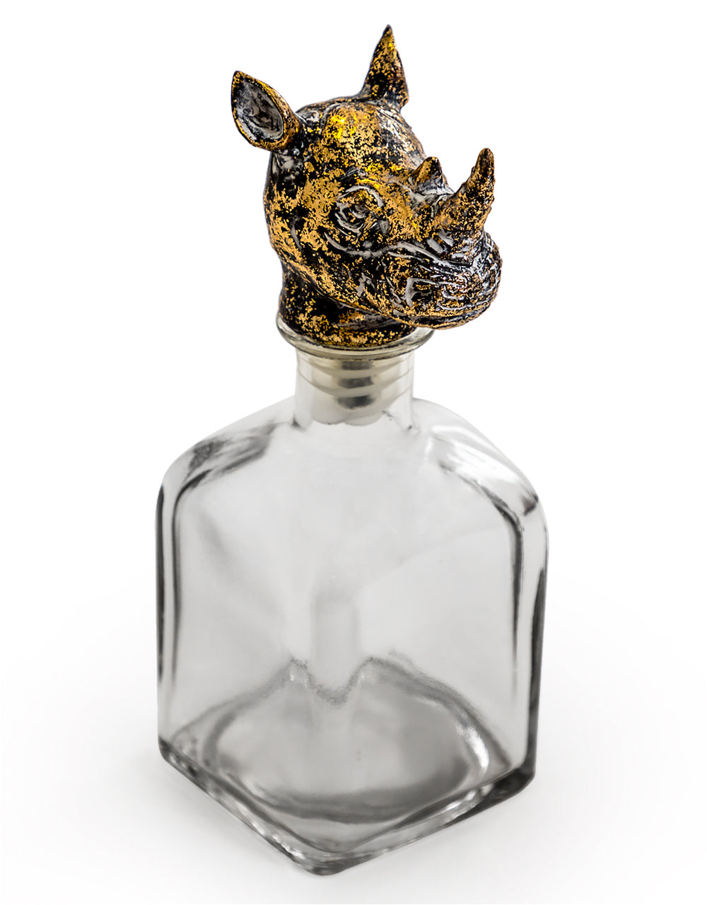 Large Glass Storage Bottle with Rhino Head Stopper - Wild Atlantic Living