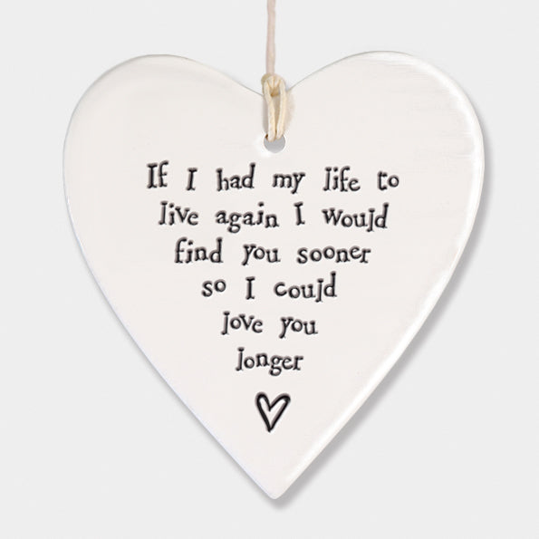 If I had my life again...  Porcelain Round Heart - Wild Atlantic Living