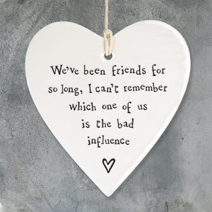 Friends for so long  Porcelain Round Heart - Wild Atlantic Living