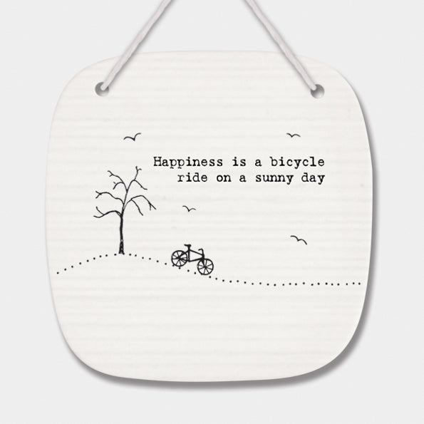 Bicycle Ride On A Sunny Day Hanging Porcelain Sign - Wild Atlantic Living