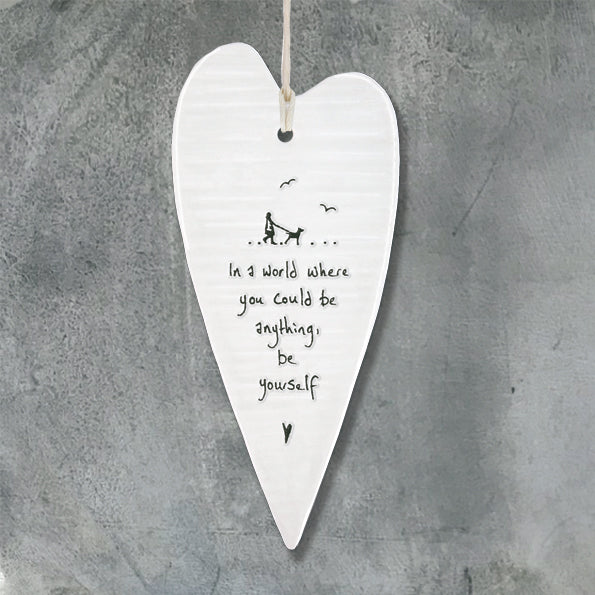 In a world where you could be anything - Porcelain Long Heart - Wild Atlantic Living
