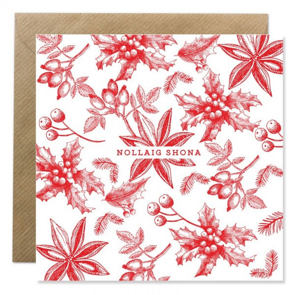 Nollaig Shona Botanical Card