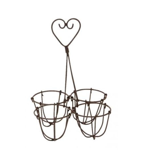 Egg Holder - 4 Cup Distressed Wire - Wild Atlantic Living