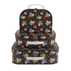 Set of 3 Dahlia Floral Suitcases - Wild Atlantic Living