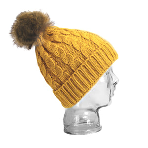 Cable knit faux fur pom pom hat mustard