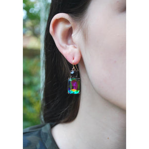 Simple Rainbow Gem with Burgundy Crystal Earrings in Antique Gold - Wild Atlantic Living