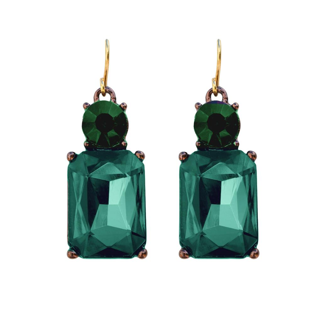 Simple Emerald Gem with Crystal Earrings in Antique Gold - Wild Atlantic Living