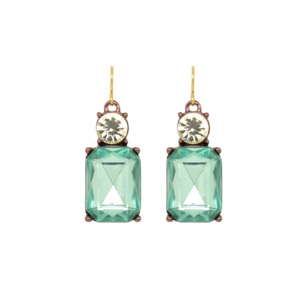 Pale Blue Gem with Crystal Earrings in Antique Gold - Wild Atlantic Living