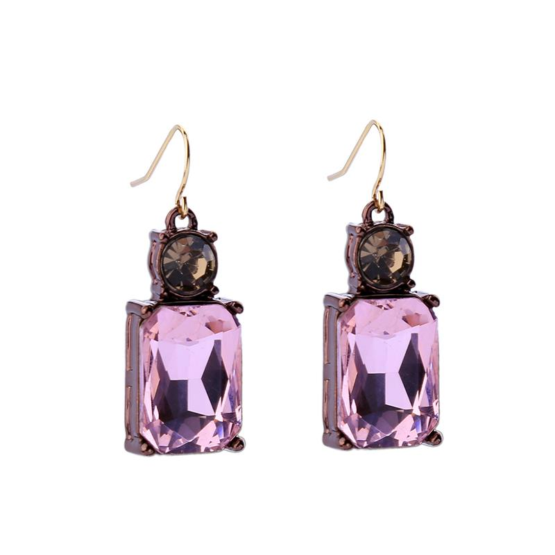 Simple Pink Gem with Crystal Earrings in Antique Gold - Wild Atlantic Living