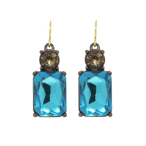 Simple Turquoise Gem with Crystal Earrings in Antique Gold - Wild Atlantic Living