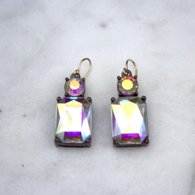 Simple Clear Gem with Crystal Earrings in Antique Gold - Wild Atlantic Living