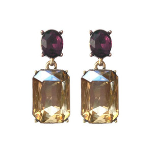 Amber Gem with Burgundy Crystal Earrings in Antique Gold - Wild Atlantic Living