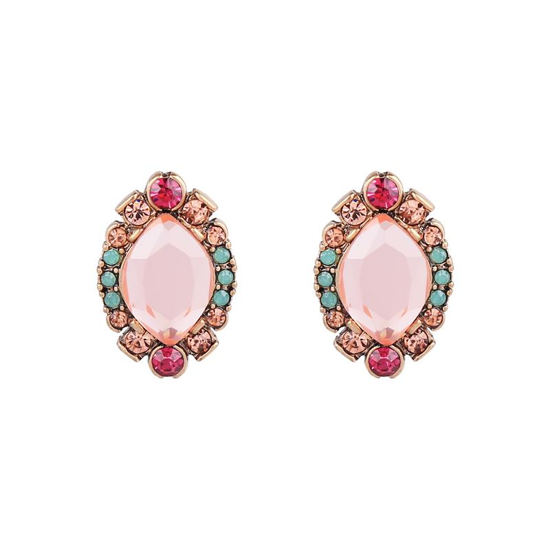 Blush Crystal Cluster Earrings in Antique Gold - Wild Atlantic Living