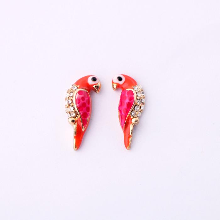 Small Coral Enamel Bird Earrings with Crystals in Antique Gold - Wild Atlantic Living