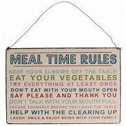 MEAL TIME RULES HANGING METAL SIGN - Wild Atlantic Living