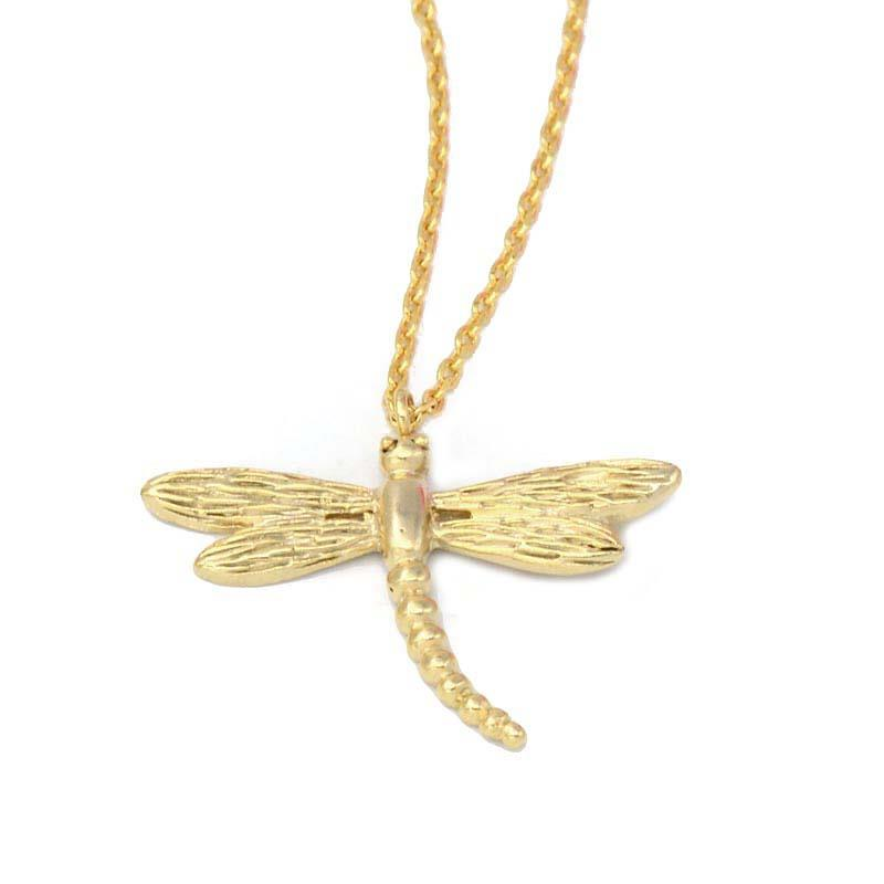 Little Dragonfly Necklace in 20K Satin Gold Plate - Wild Atlantic Living