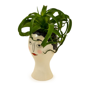 Ceramic Doodle Woman's Face Vase/planter - Blush