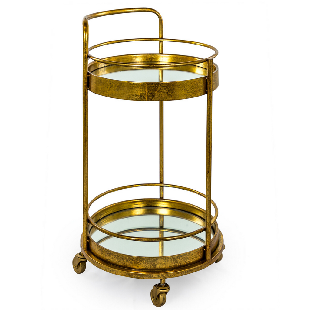 Small Round Bar Cart Trolley - Wild Atlantic Living