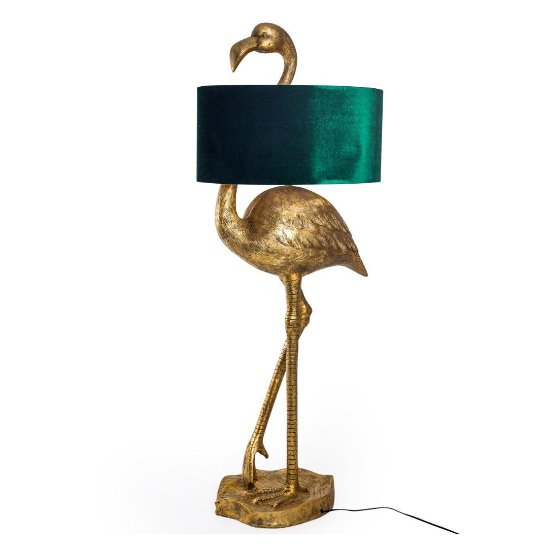 Antique Gold Flamingo Floor Lamp with Green Velvet Shade