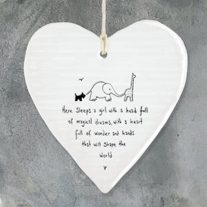 Here sleeps a girl Porcelain Round Heart - Wild Atlantic Living