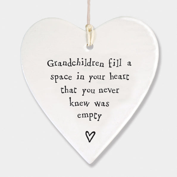 Grandchildren...  Porcelain Round Heart - Wild Atlantic Living
