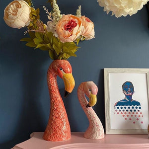 Large Ceramic Pink Flamingo Head Vase/planter